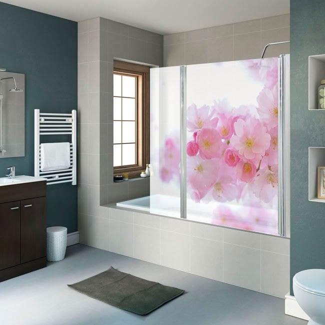 Vinili schermi del bagno fiore di ciliegio giapponese