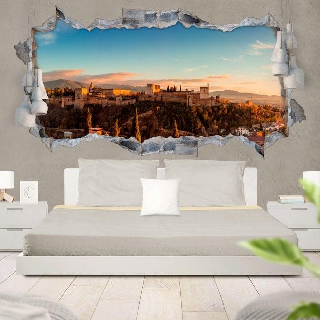 Vinile decorativo 3d panoramica l'alhambra granada