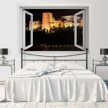 Finestre in vinile con vista notturna all'alhambra 3d