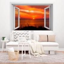 Vinile decorativo finestre tramonto 3d