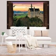 Vinile e adesivi 3d finestra castello di neuschwanstein