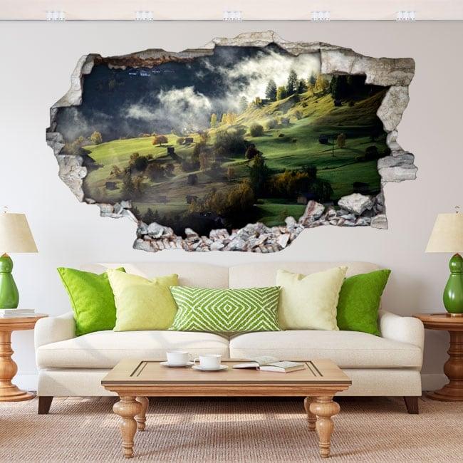 Adesivi murali nebbia montagne in autunno 3d