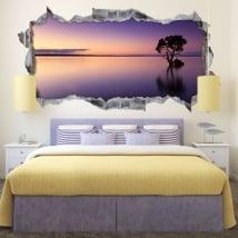 Adesivi 3d panorama tramonto albero nell'acqua