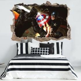 Vinyl foro nel muro 3D Capitan America guerra civile