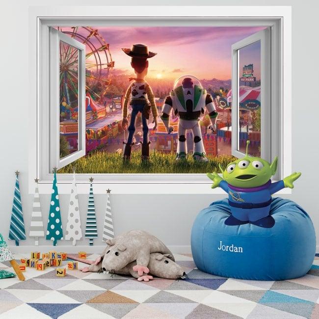 Pareti in vinile 3d finestra storia del giocattolo 4