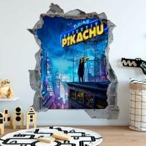 Adesivi decorativi 3d pokémon detective pikachu