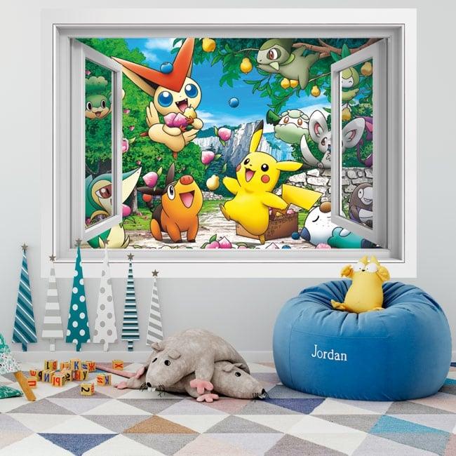 Vinili muri 3d finestra pikachu