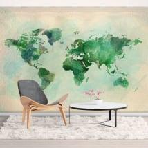 Murales di vinile decorativo mappa del mondo acquerello