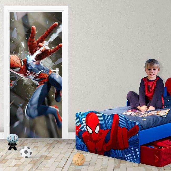 Adesivi in vinile per porte spiderman