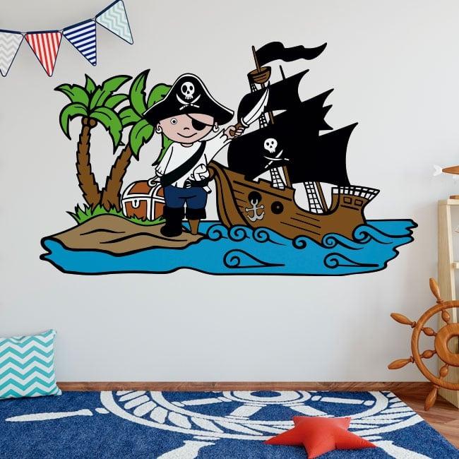 Vinile per bambini pirata sull'isola