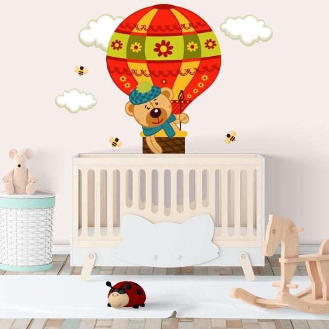 Vinili e adesivi bambini il volo dell'orso in un pallone