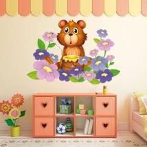 Adesivi in vinile per bambini orso e fiori