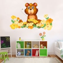 Vinili bambini o giovani orso e fiori