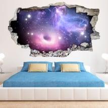 Adesivi 3d buco nero e nebulosa con le stelle