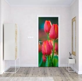 Vinili e adesivi per porte fiori tulipani