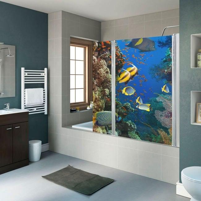 Vinili schermi del bagno pesce e barriera corallina