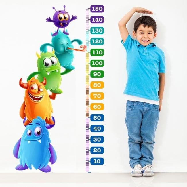 Vinile e adesivi per bambini misuratore di altezza mostri