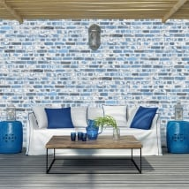 Murales in vinile con mattoni blu