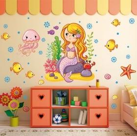 Vinile decorativo e adesivi per bambini frase della sirenetta