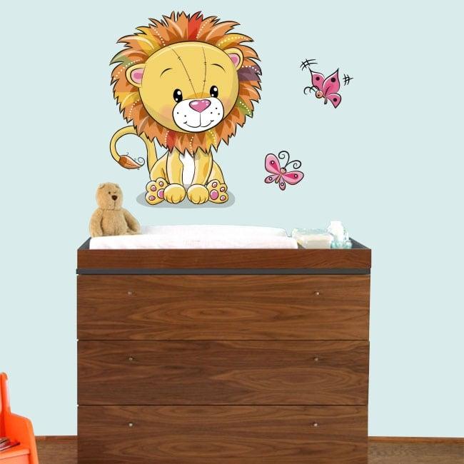Vinile per bambini o di neonati leone e farfalle