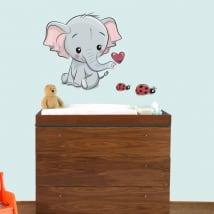 Vinili bambini o di neonati elefante e coccinelle