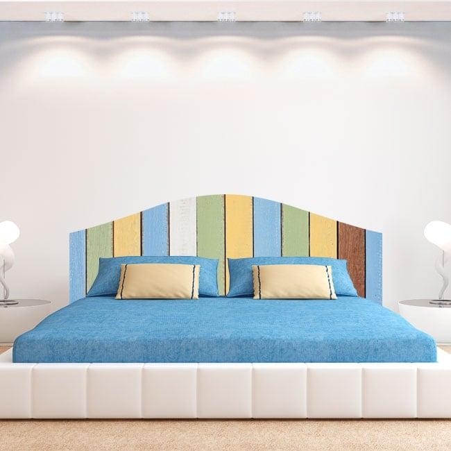 Vinili letto testiera tavole di legno colorate