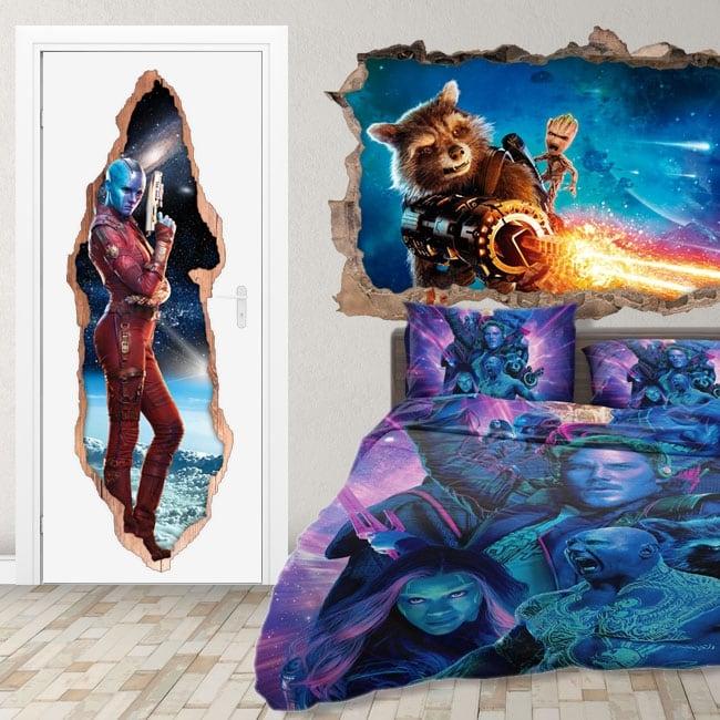 Adesivi porta 3d nebula guardiani della galassia