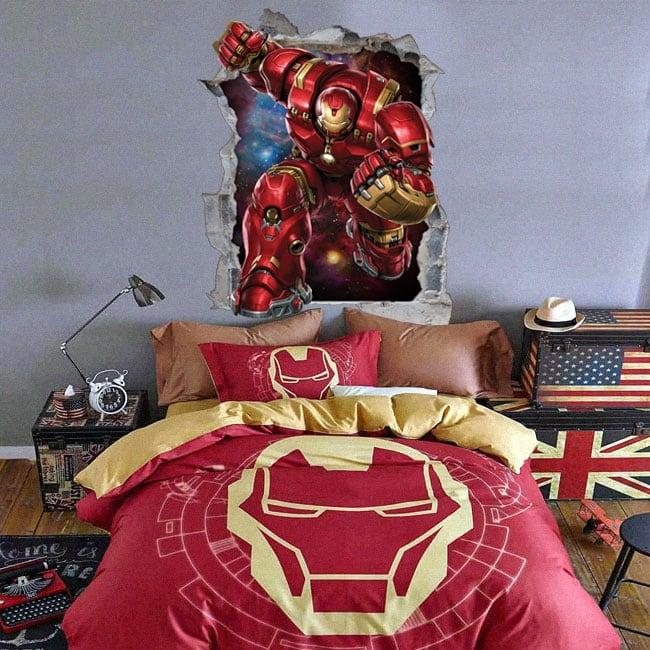 Sticker murale 3d marvel iron man