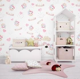 Murales per bambini elefanti con nuvole e stelle