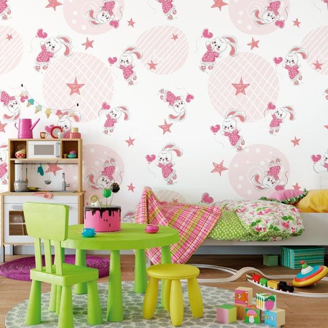 Murales per bambini conigli con stelle e cuori