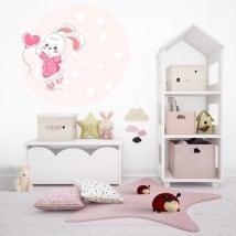 Vinili infantile o giovanile coniglio con palloncino cuore