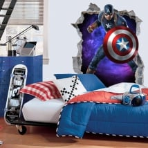 Vinile decorativo 3d marvel capitan america