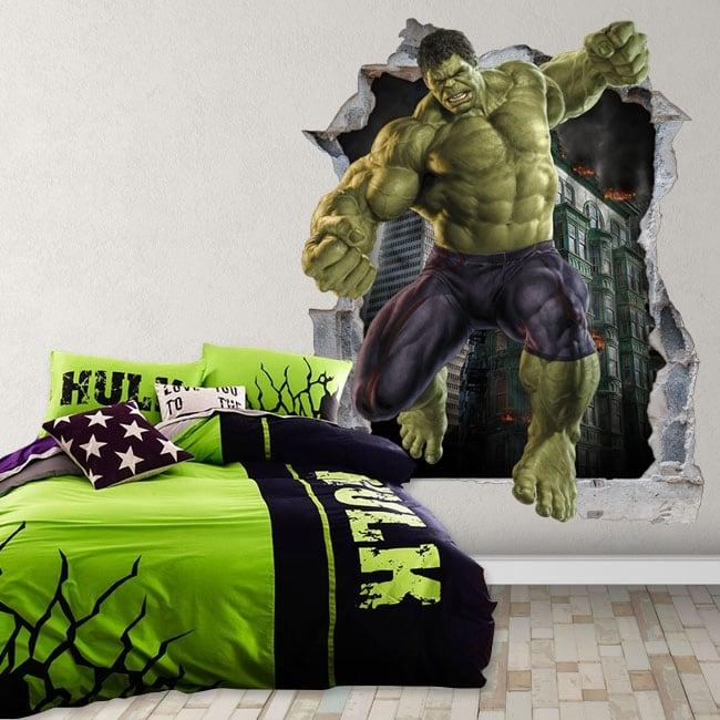 Vinile decorativo 3d marvel supereroe hulk
