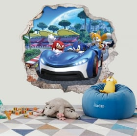 Adesivi decorativi 3d videogioco team sonic racing