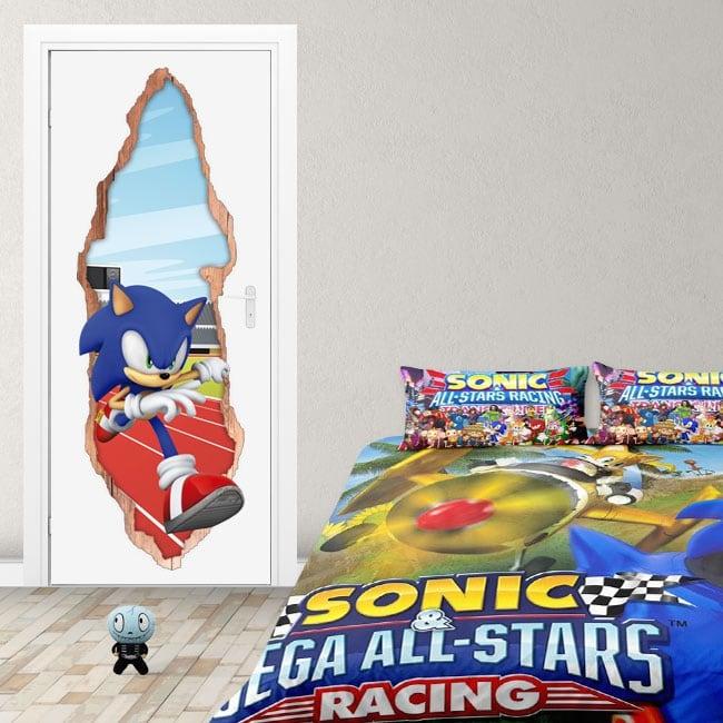 Adesivi porta 3d videogioco sonic