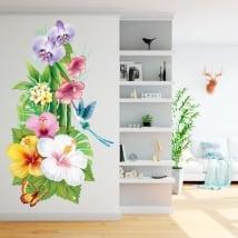 Vinili per i muri fiori colibrì e farfalla