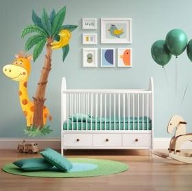 Vinile per bambini o neonati giraffa e palma acquerello