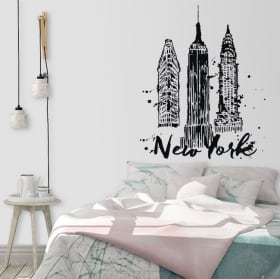 Vinile decorativo e adesivi skyline di new york