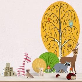 Vinile per bambini coccodrillo e palma acquerello