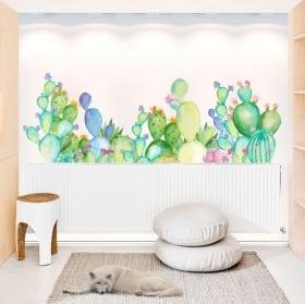 Adesivi murali piante di cactus dell'acquerello