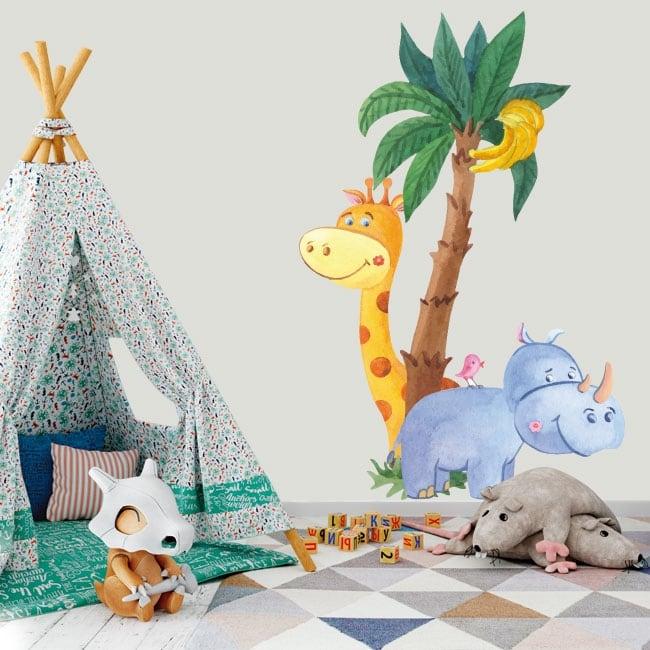 Vinile per bambini giraffa con rinoceronte e uccello acquerello