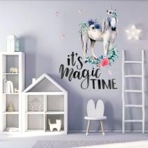 Vinile decorativo unicorno con frase in inglese