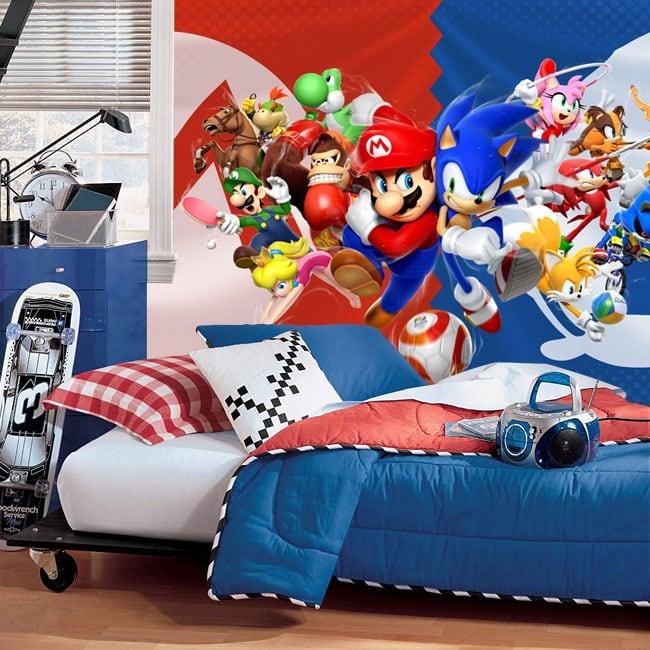 Murales videogioco mario bros e sonic giochi olimpici