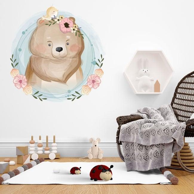 Vinile per bambini o di neonati orso e uccellino