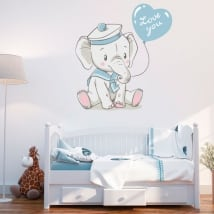 Vinile per bambini o neonati elefante con la frase love you
