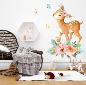 Vinili bambini o giovani unicorno e castello acquerello
