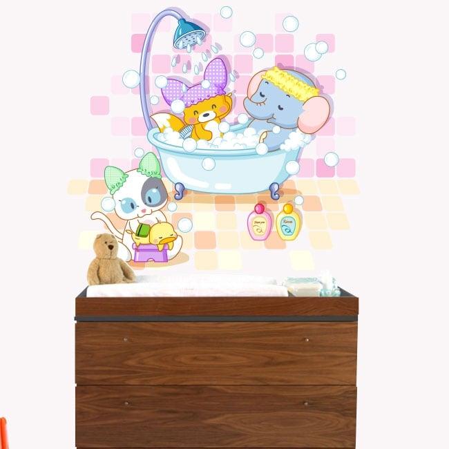 Vinile per bambini o di bebè animali che bagnano