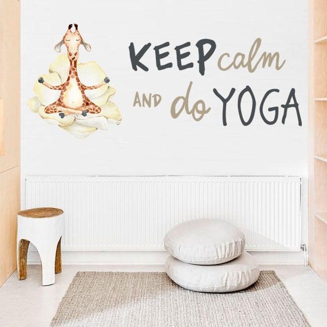 Vinile e adesivi giraffa con frase in inglese keep calm yoga