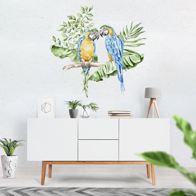 Adesivi murali pappagalli o are in acquerello