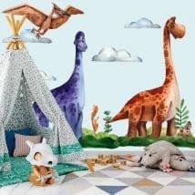 Vinile e adesivi bambini o giovani dinosauri acquerelli